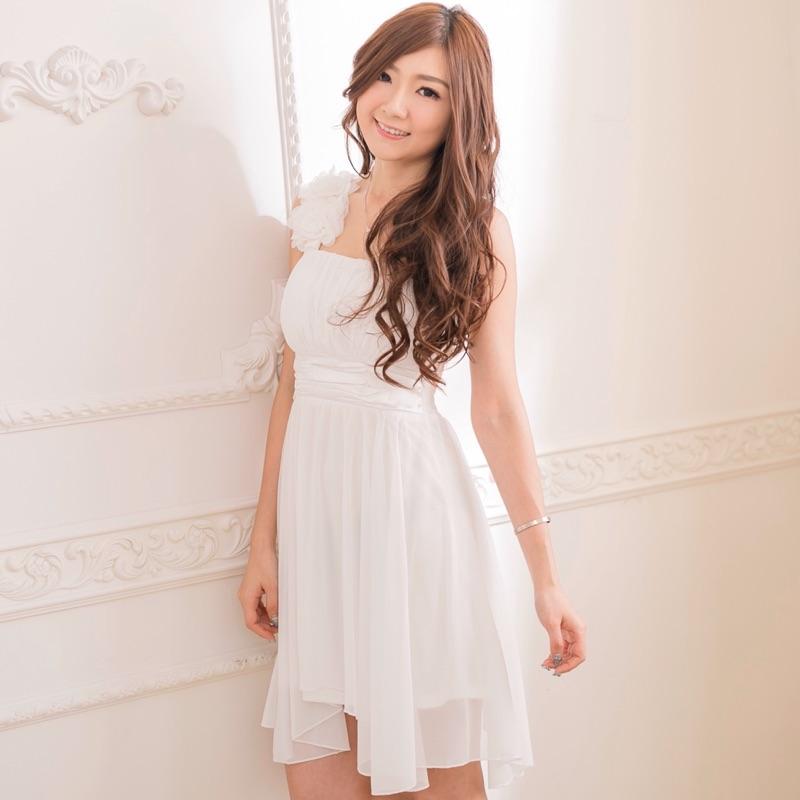 PMQueen白羽夜后洋裝禮服[30015]單肩立體花朵傘擺洋裝/禮服/伴娘服
