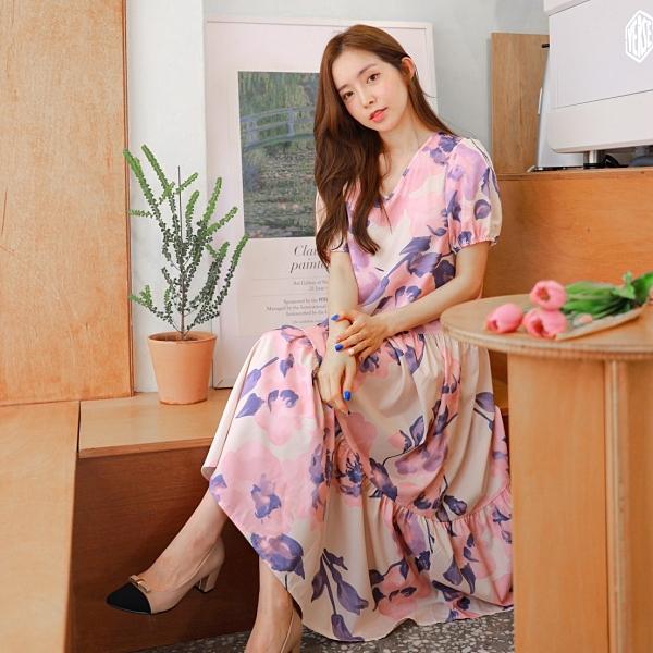 連身裙.韓系浪漫飄逸水彩花朵V領荷葉短袖洋裝.白鳥麗子