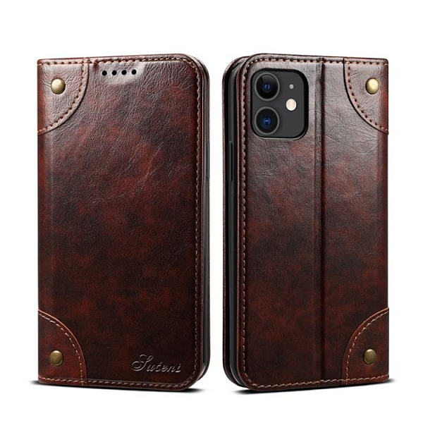 手機配件 適用iPhone12 Pro油蠟復古書本手機套翻蓋插卡支架蘋果12保護皮套手機殼 手機套 皮套
