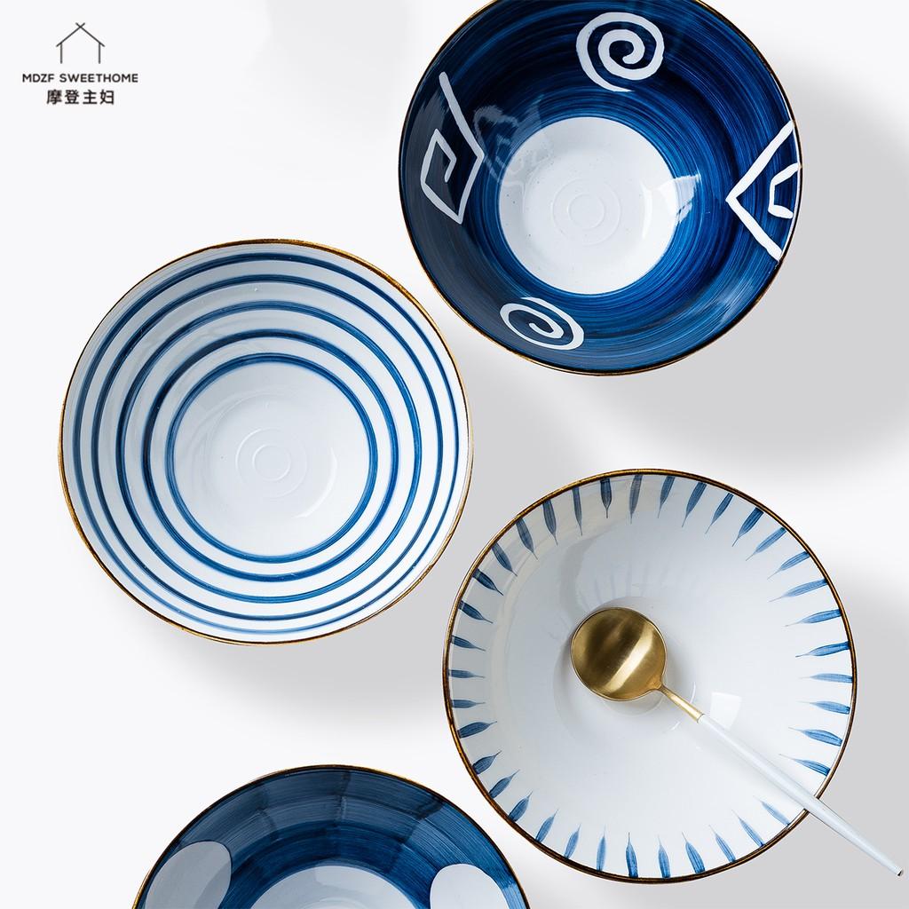 摩登主婦 青謠日式拉面碗 湯碗 沙拉碗 家用陶瓷大碗 單個易清洗泡面碗