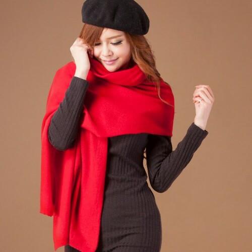 【矜蘭妃】100%喀什米爾保暖精織貴族圍巾(紅黑灰)