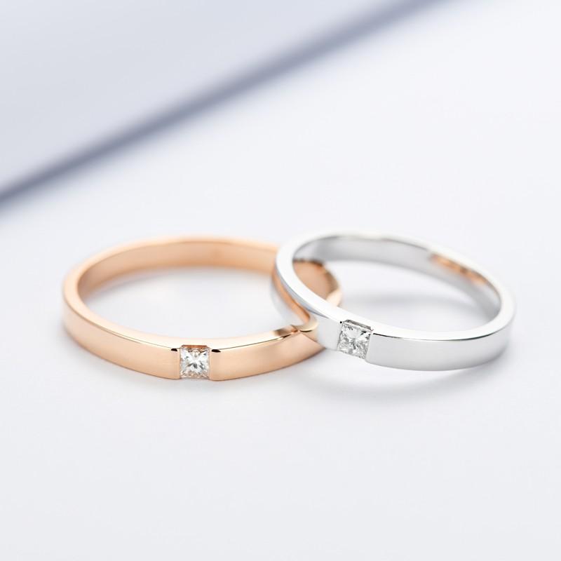 【巧品珠寶】天然鑽石點綴公主方鑽素圈亮面單鑽寬版鑽戒