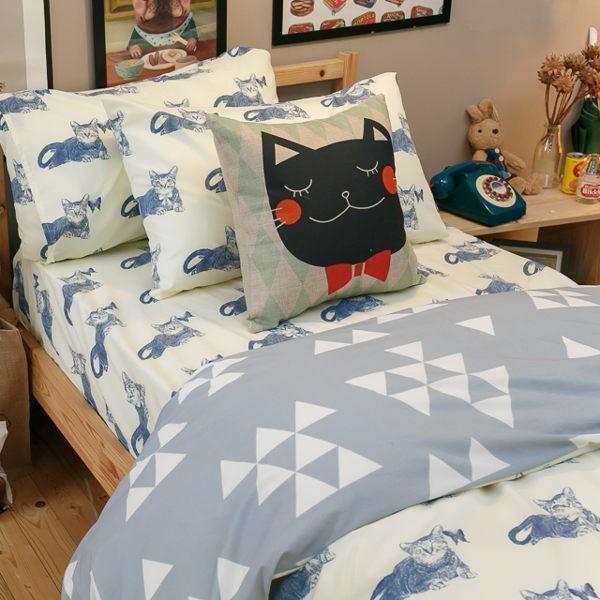 Blue cat 藍貓(床包藍貓) 【雙人、加大組合】規格可選 四季磨毛布 台灣製造