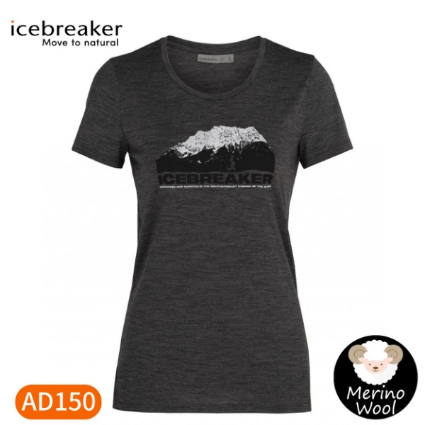 【Icebreaker 女 Tech Lite 大圓領短袖上衣AD150冰山高峰《灰》】IB105382/機能服/排汗衫