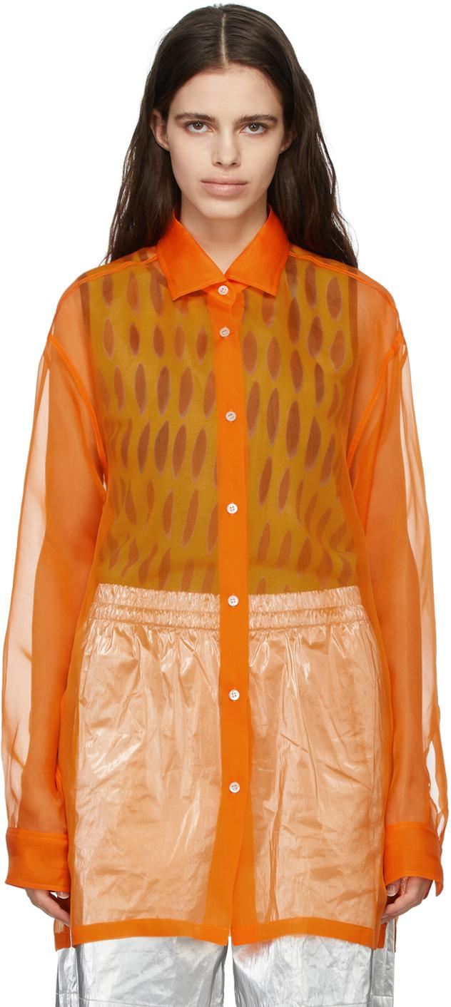 Dries Van Noten 橙色真丝欧根纱衬衫