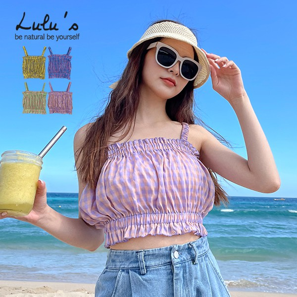 LULUS【A01210265】Y配色格紋縮腰上衣4色0513
