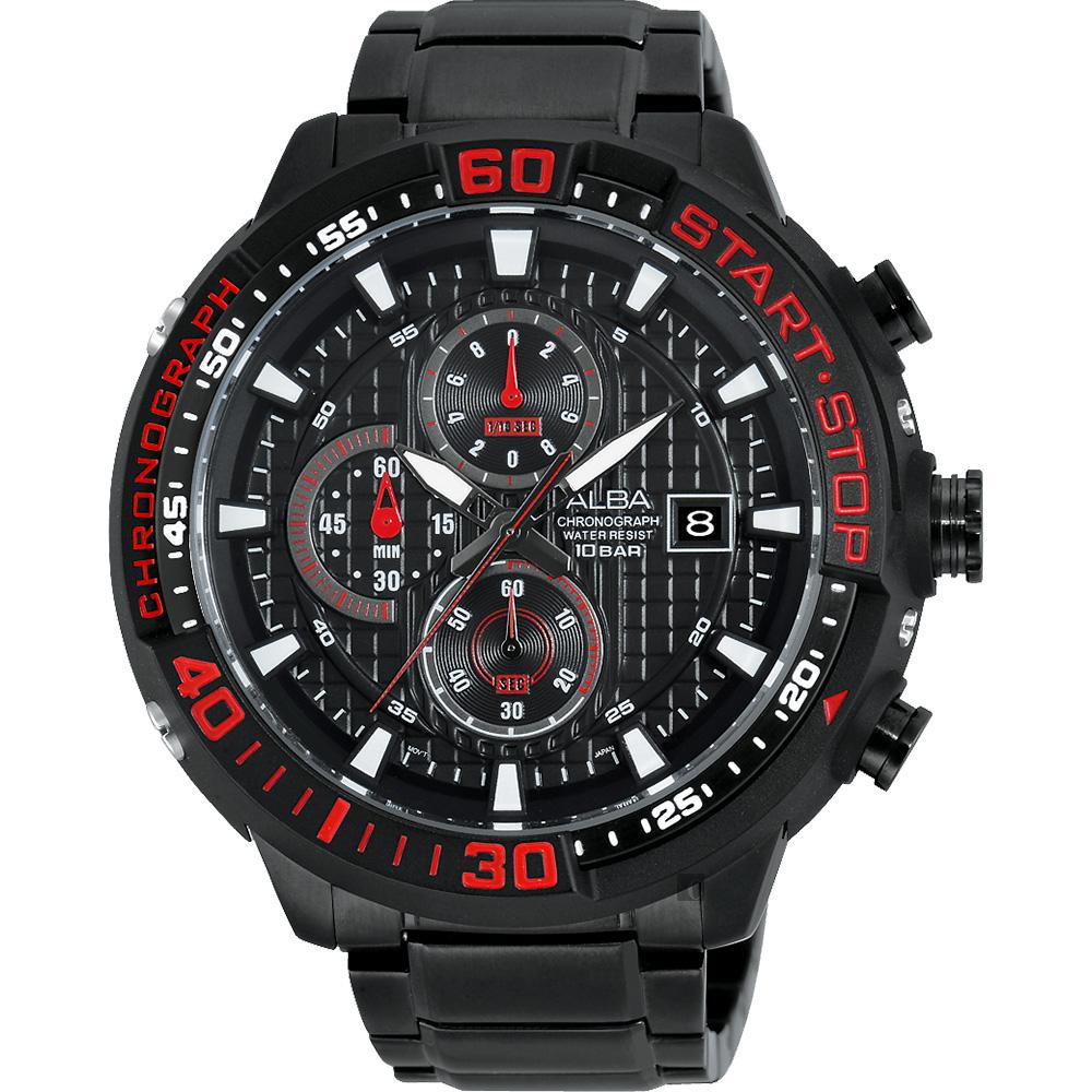 ALBA SignA 疾速奔馳計時腕錶-鍍黑/49mm VD57-X016R(AM3099X1)