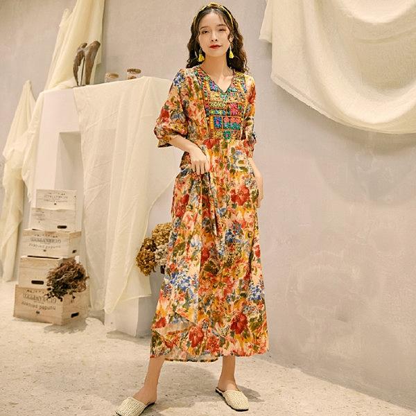 長版洋裝長裙~宮廷風洋裝長裙度假洋裝長裙~波西米亞民族風連身裙1754.NE440C莎菲娜 送模特耳環