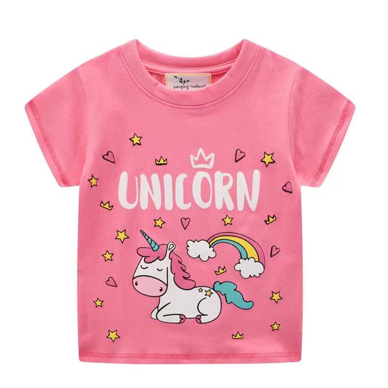 外銷款  歐美夏季女童純棉彩虹馬百搭短袖T恤