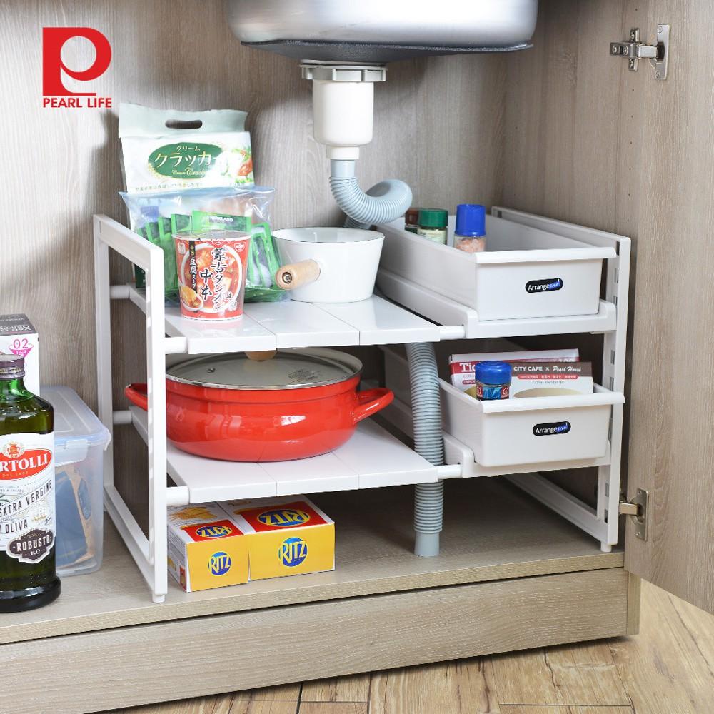 【日本珍珠金屬】廚下水槽伸縮式收納層架(深40cm)-附收納盒