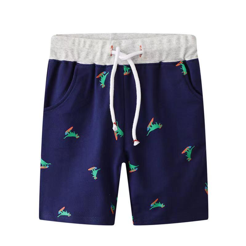 外銷款  歐美夏季男童恐龍純棉綁帶百搭短褲