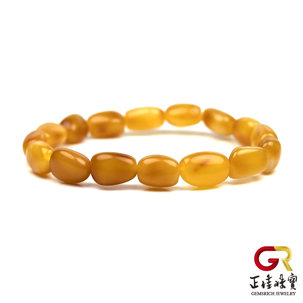 蜜蠟 經典滿蜜雞油黃蜜蠟 隨形蜜蠟手珠 日本彈力繩 正佳珠寶