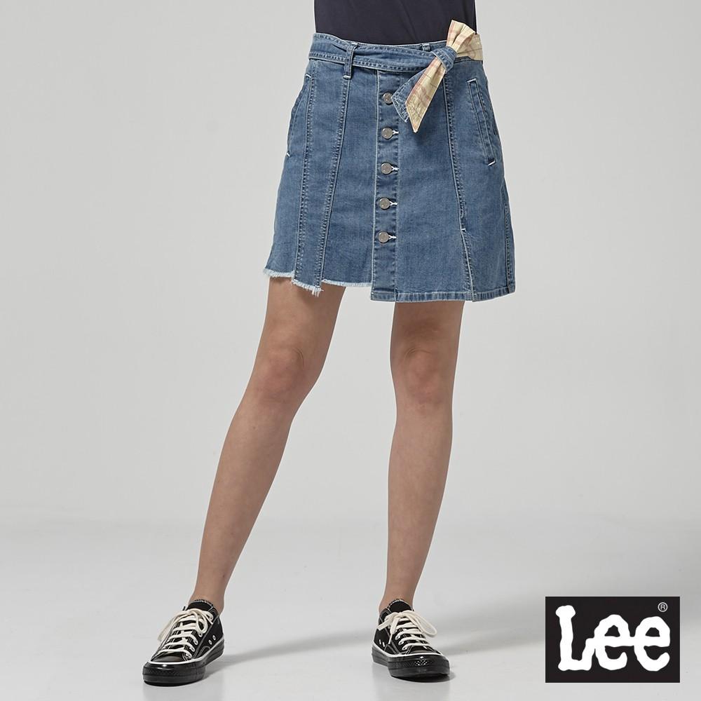 Lee 牛仔短裙 女 中淺藍 綁帶排扣 Mainline