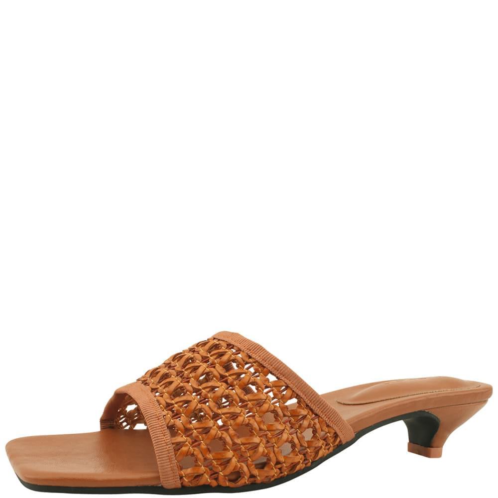 韓國空運 - Rattan Net Low Heel Mules Slippers Brown 涼鞋