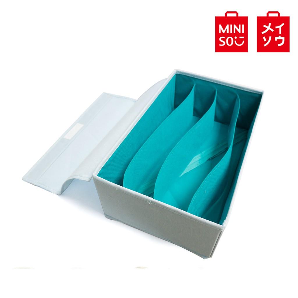 【MINISO名創優品】撞色款4格內衣收納盒(藍色)