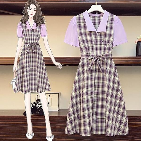 洋裝 連身裙 中大尺碼L-4XL新款改良旗袍收腰顯瘦減齡連衣裙4F093-3715.胖胖唯依