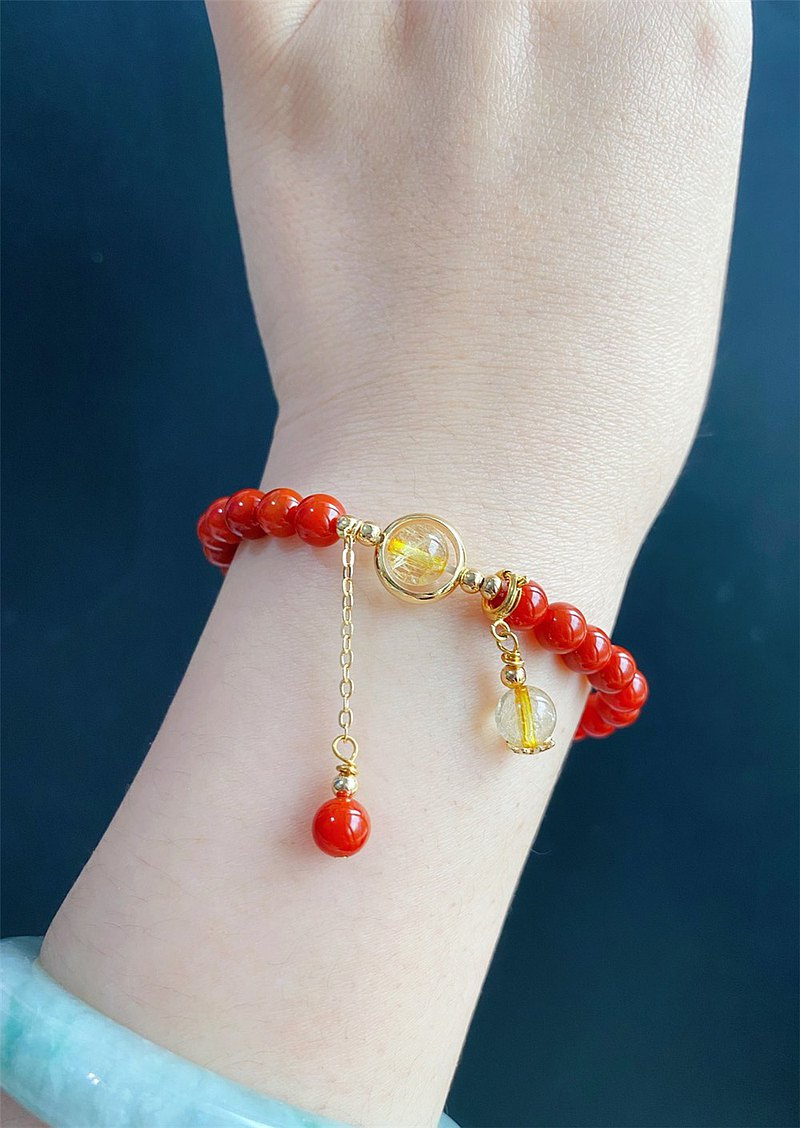 紅瑪瑙 鈦晶 設計款 手鍊 天然石 客製化 禮物 閨蜜 消除負面能量