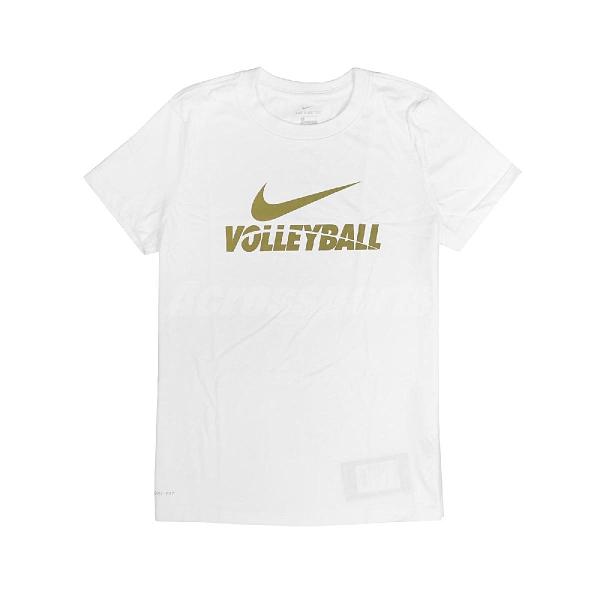 Nike 短袖T恤 W Volleyball Tee 白 金 女款 短T 排球 運動休閒 【ACS】 561423100V-B70