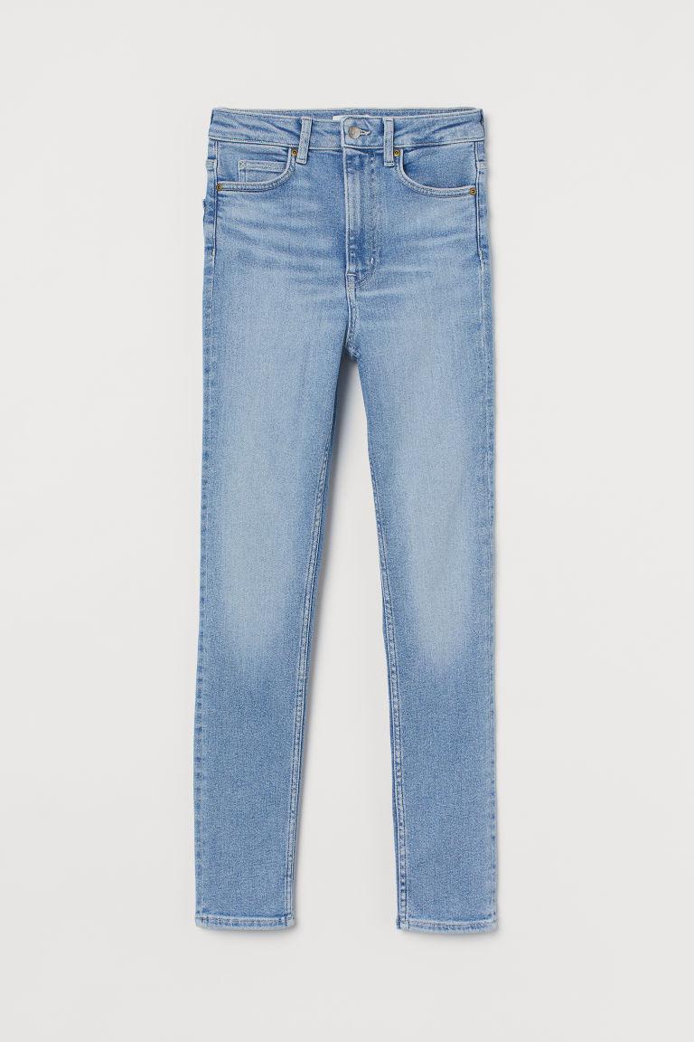 H & M - 窄管超高腰牛仔褲 - 藍色