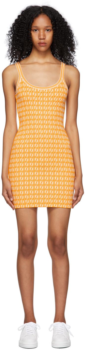 Fendi 白色 & 橙色 Forever Fendi 提花连衣裙