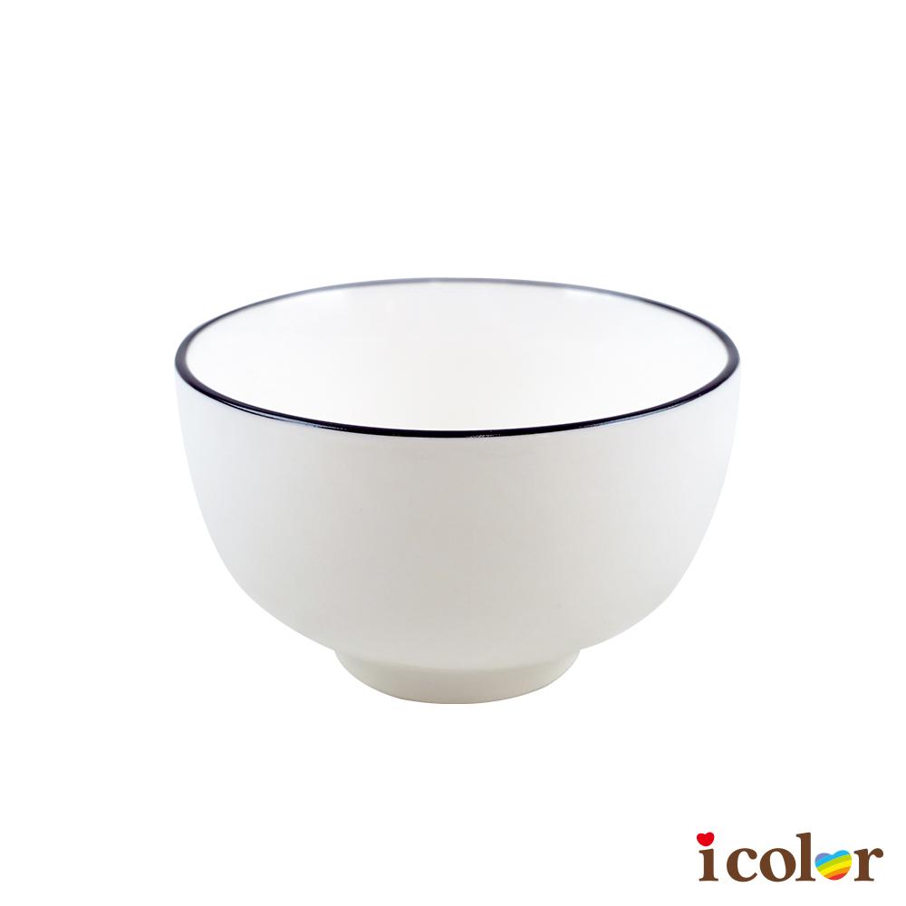 簡約線條琺瑯風格陶瓷碗(11.3cm)