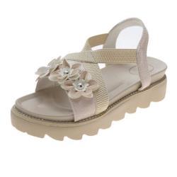 【Taroko】優雅美感交叉花朵水鑽厚底涼鞋(2色可選)