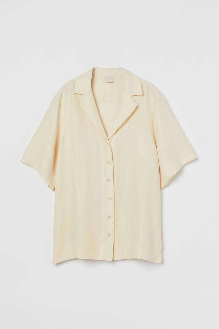 H & M - 加大碼亞麻混紡襯衫 - 橙色