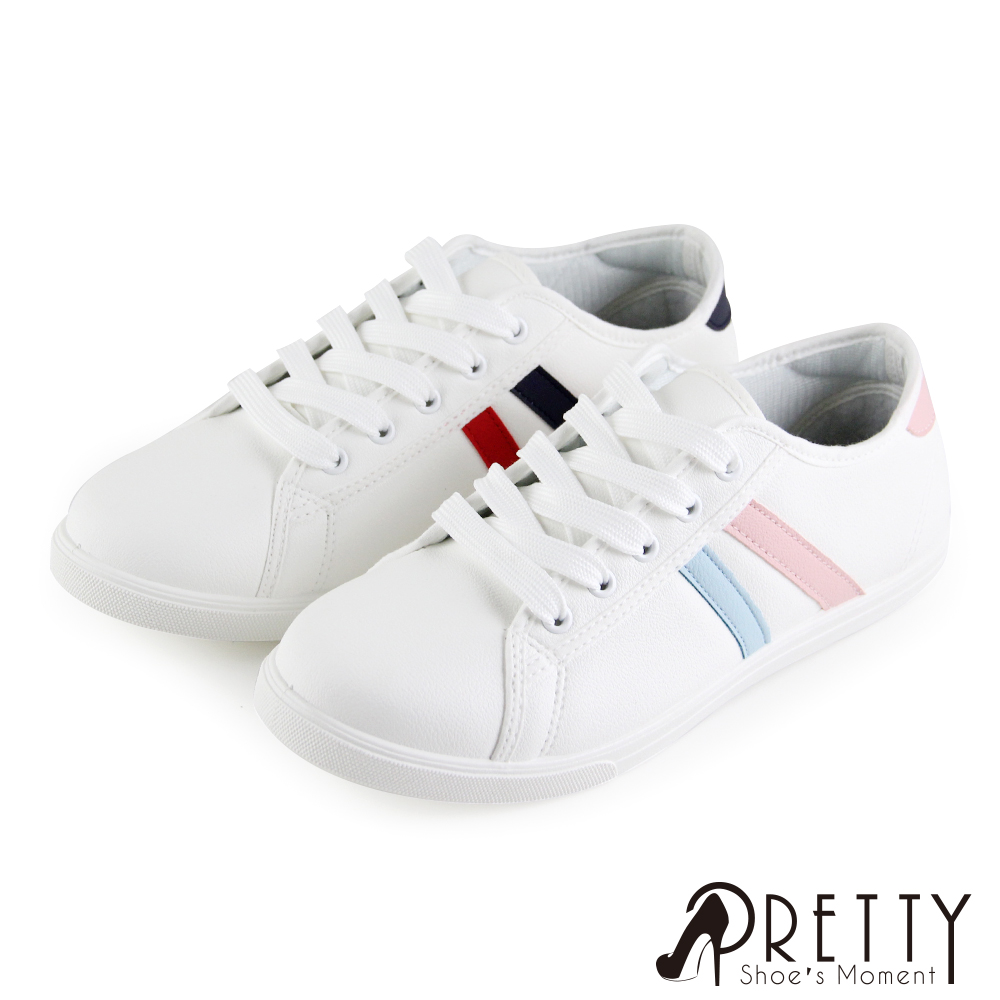 【Pretty】台灣製經典款撞色線條綁帶平底休閒鞋/小白鞋P-20A02