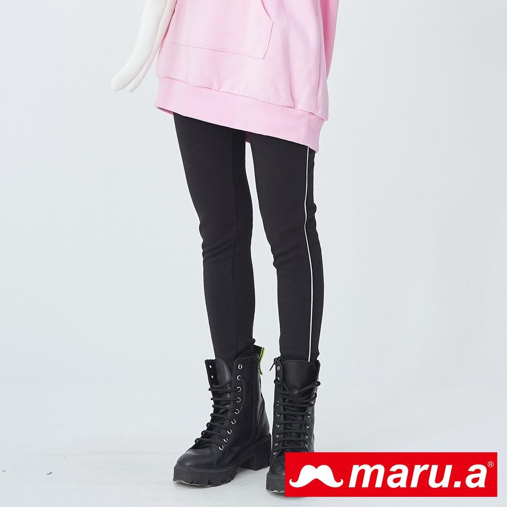 maru.a (99)超保暖內刷毛可愛Miru印花內搭褲(黑色)