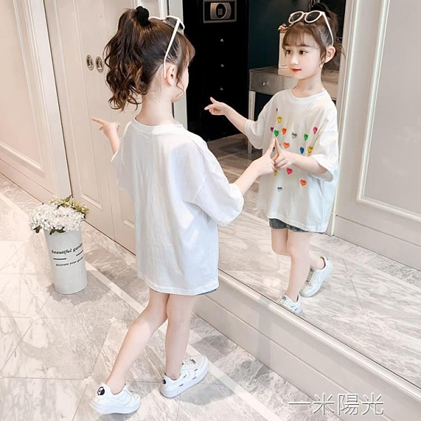 童裝女童t恤夏裝2021新款洋氣夏季兒童短袖女大童純棉上衣打底衫 一米陽光