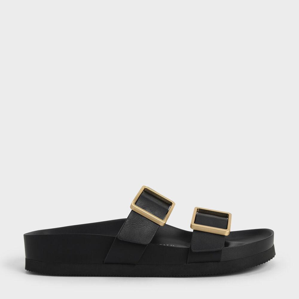 金屬釦雙帶拖鞋