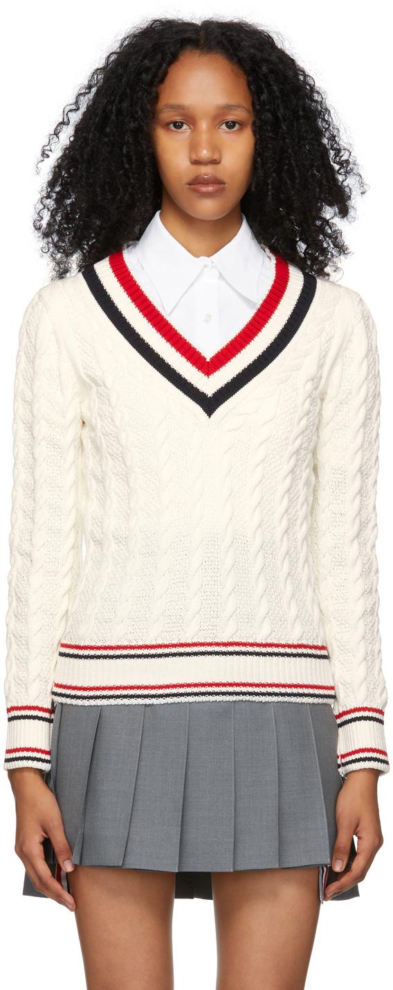Thom Browne 灰白色 Heritage Cable RWB 针织衫