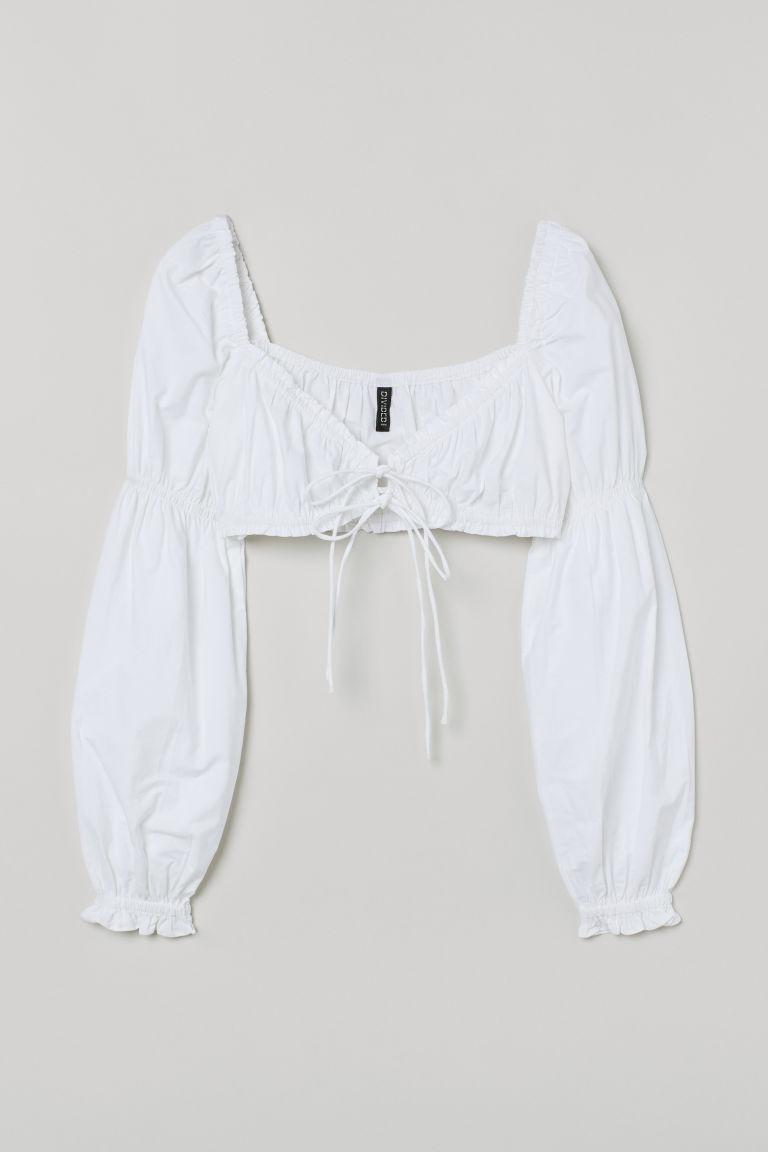 H & M - 短版棉質上衣 - 白色