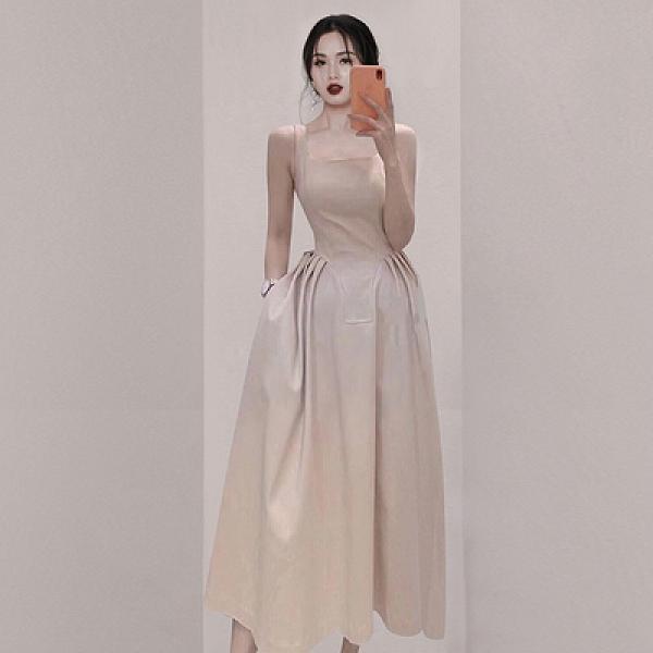 OL洋裝S-XL3290#法式吊帶連身裙女夏長裙設計感小眾高級感高端收腰氣質裙子NA07快時尚