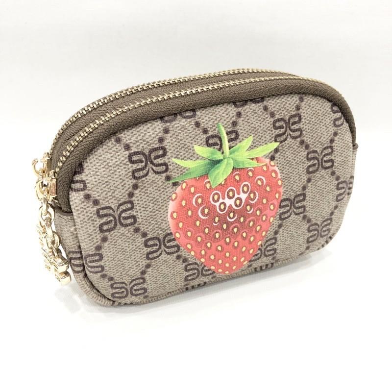 可愛水果雙拉鍊零錢包鑰匙包