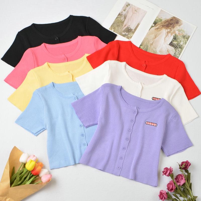 [現貨] 7色針織衫女 短袖t恤 洋氣薄款圓領單排扣小開衫 時尚百搭短版露肚上衣 女裝