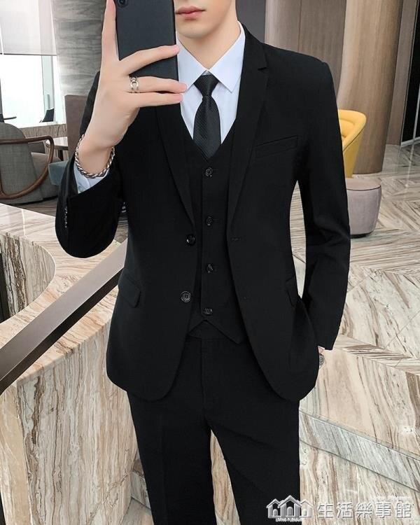男士西服套裝韓版結婚禮服修身伴郎小西裝外套休閒黑色職業正裝春 樂事館品