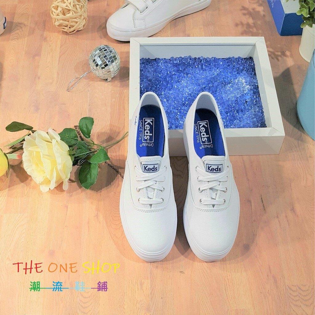 TheOneShop Keds 經典款 小白鞋 白色 全白 厚底 3公分 增高 基本 帆布 藍標 帆布鞋 WF49946