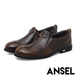 【Ansel】 真皮皮鞋手工皮鞋/真皮復古擦色手工縫線造型粗跟紳士小皮鞋 -男鞋  棕