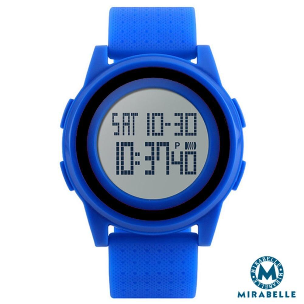 【Mirabelle】雙框炫色*LED鬧鐘防水矽膠手錶/藍帶黑框