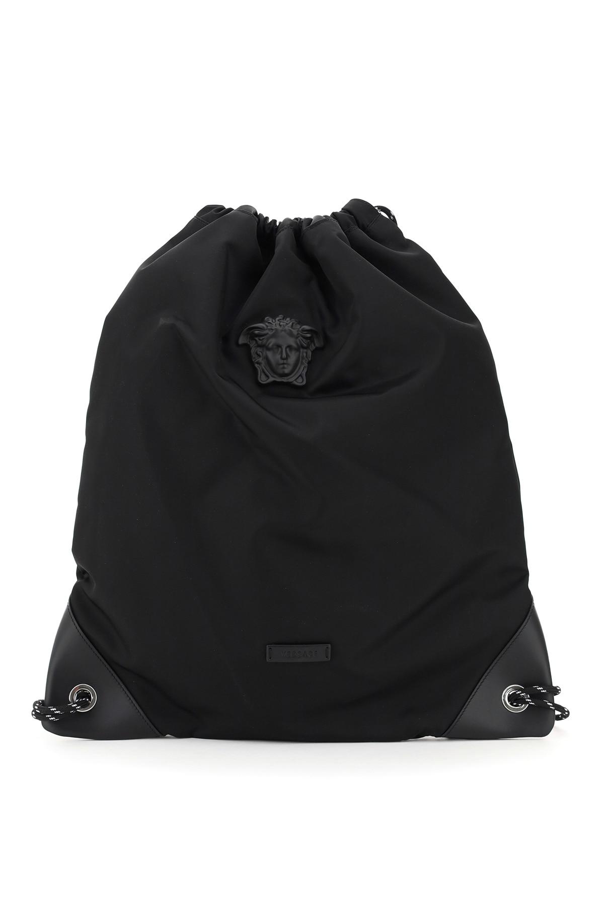 VERSACE MEDUSA NYLON BACKPACK SACK OS Black Leather, Technical