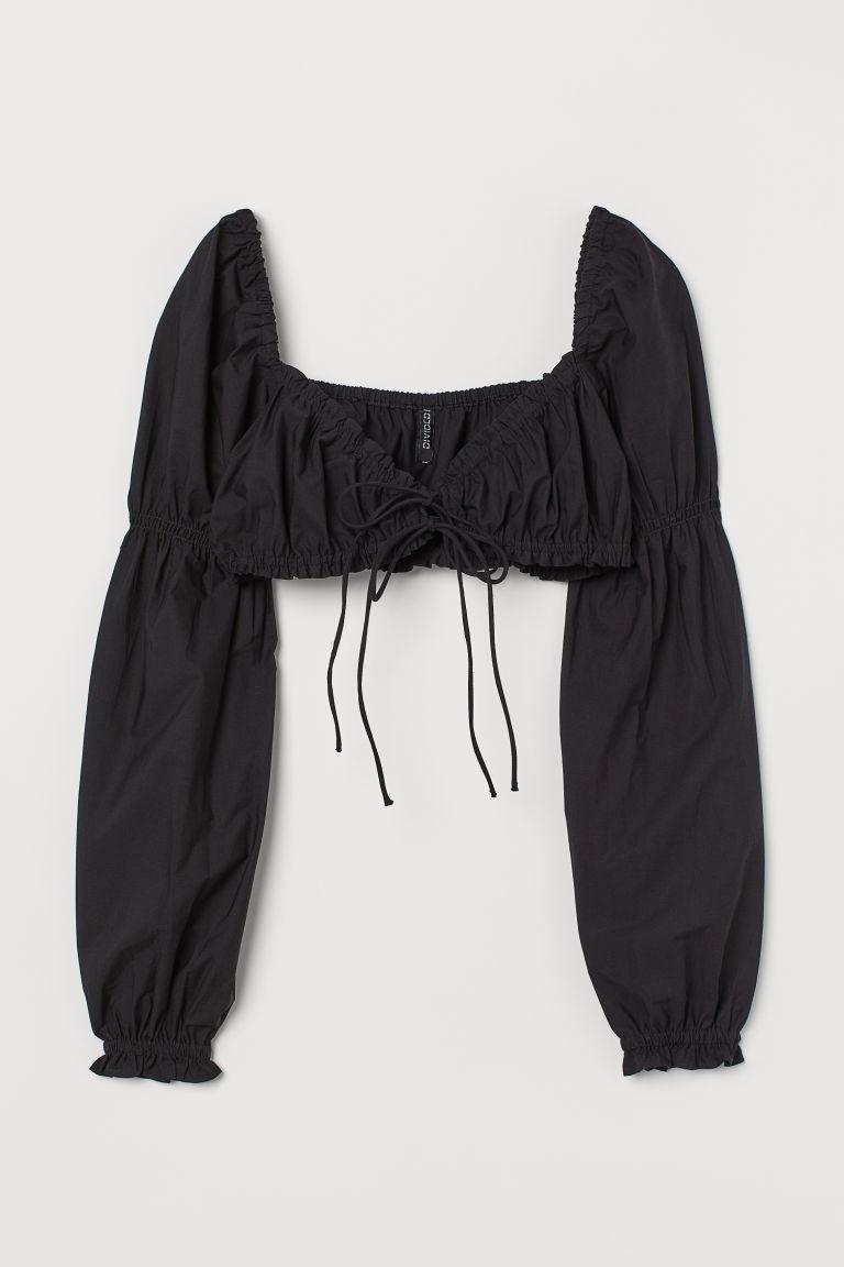 H & M - 短版棉質上衣 - 黑色