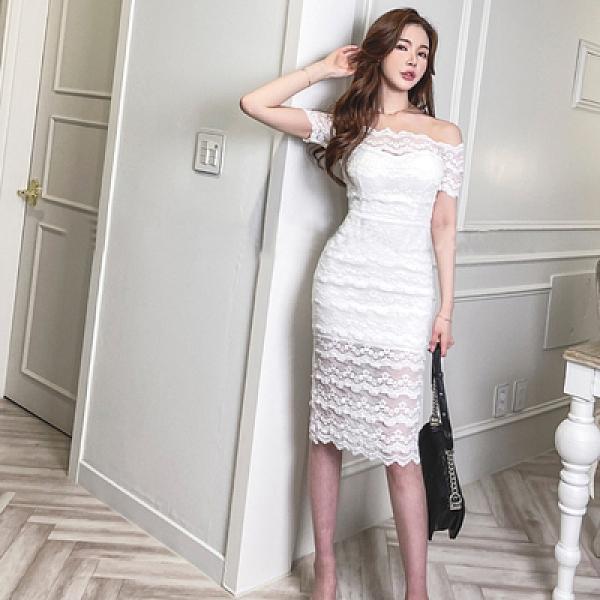 OL洋裝一字領禮服 韓版時尚氣質優雅顯瘦性感包臀打底蕾絲連身裙S-XL2263H506快時尚