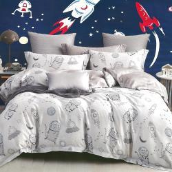 indian  100%純天絲雙人七件式床罩組-喵遊太空
