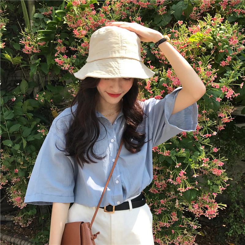 韓系氣質簡約純色短袖襯衫 3色 依多多