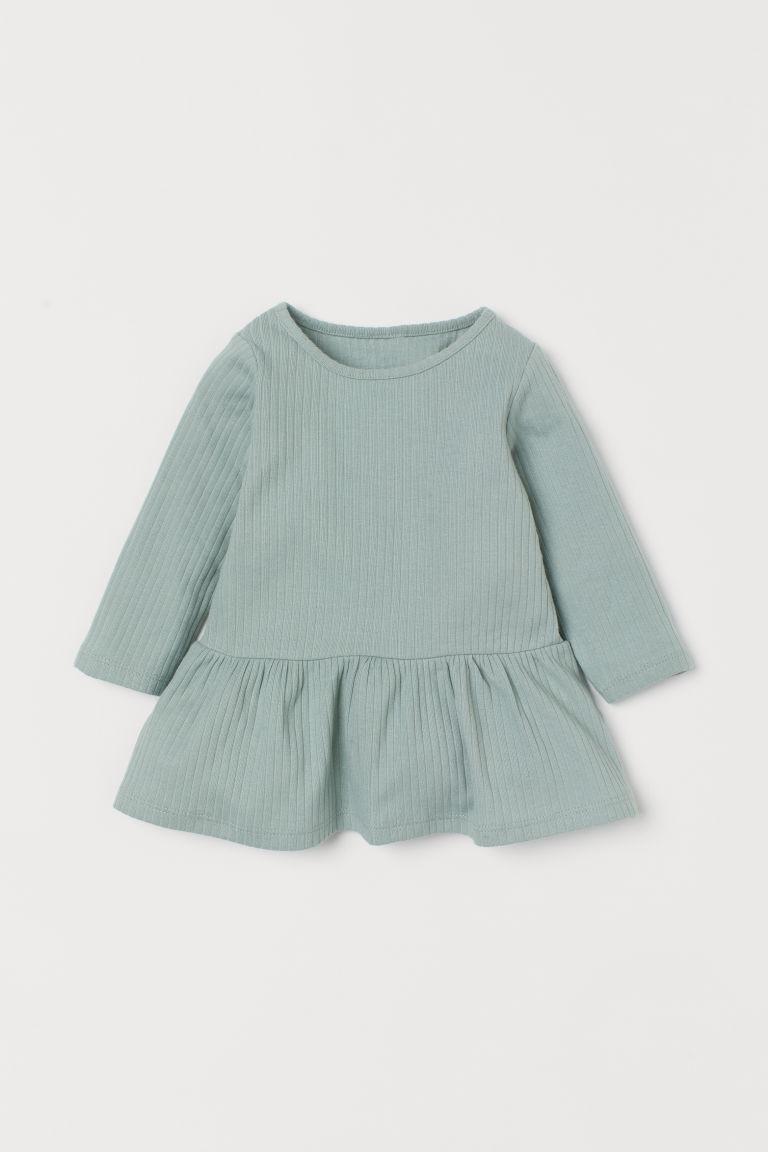 H & M - 羅紋洋裝 - 綠色