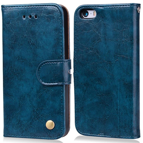 手機配件 iPhone5s SE商務復古油蠟手機皮套翻蓋插卡掛繩蘋果6 6plus保護套手機殼 手機套 皮套
