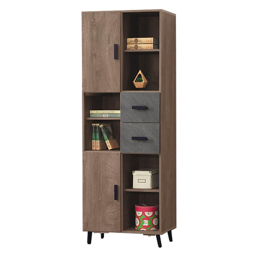 Boden-奧米2尺工業風仿石面開放式二門二抽書櫃/收納置物櫃