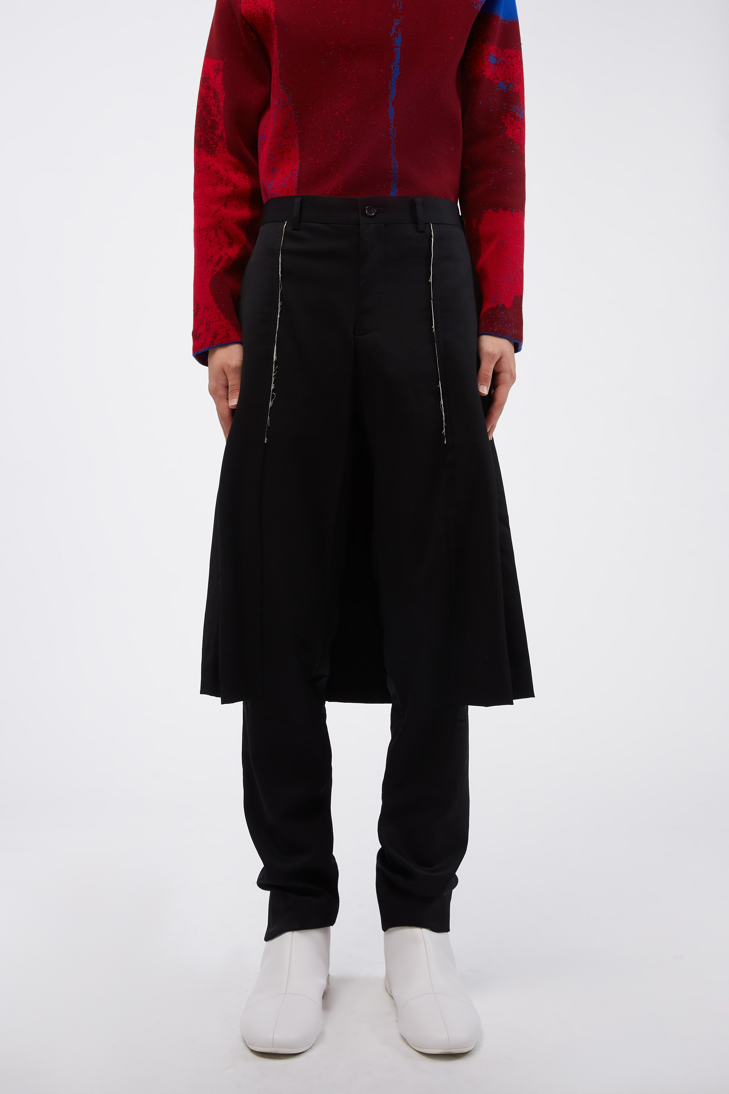 Black Wool Slim Fit Layered Trousers S
