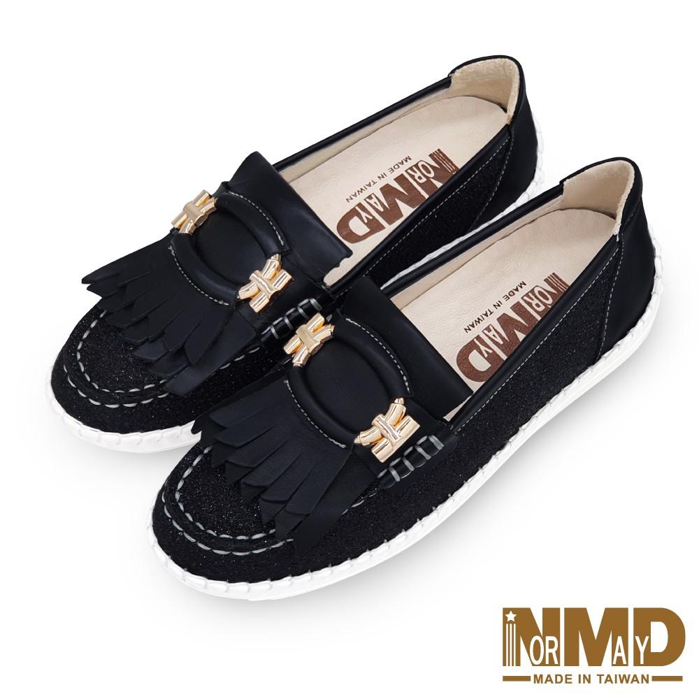Normady 諾曼地MIT手工鞋 女鞋 休閒鞋 懶人鞋 真皮鞋 流蘇鑽紗磁力厚底內增高氣墊球囊鞋(星空黑)